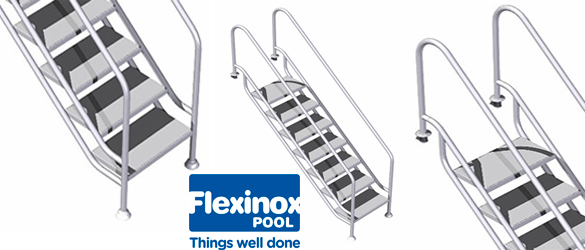 Escalera fácil acceso Land, de Flexinox Pool