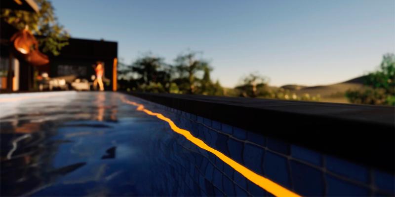 Iluminación perimetral subacuática de piscina