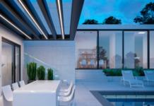 iluminación de piscina y entorno mediante