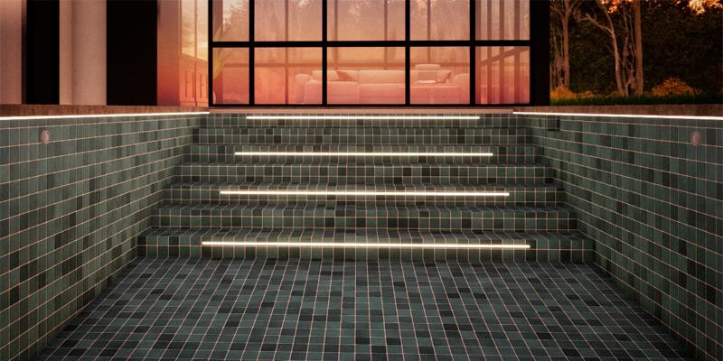 Iluminación de escalera interior de piscina mediante tiras LED