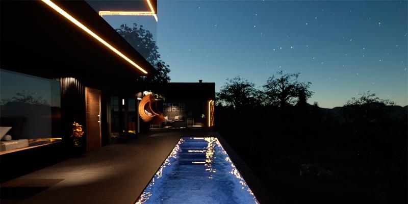 Iluminación interior piscina y exterior en tiras de luz color neutro