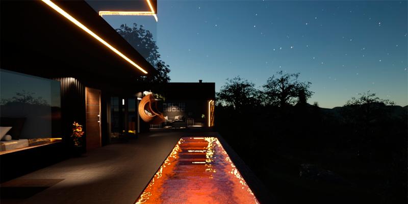 iluminación interior de piscina y exteriores mediante tiras de luz color naranja