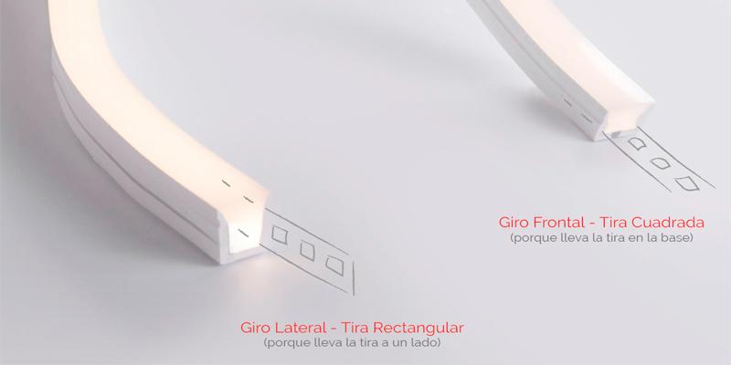 tira cuadrada de iluminación para giro frontal y tira rectangular para giro lateral